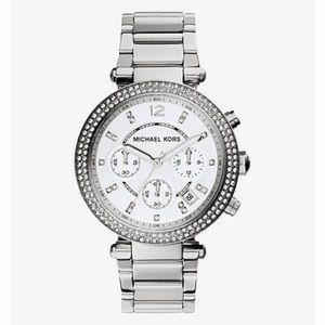 Michael Kors Parker Silver Rhinestone Watch